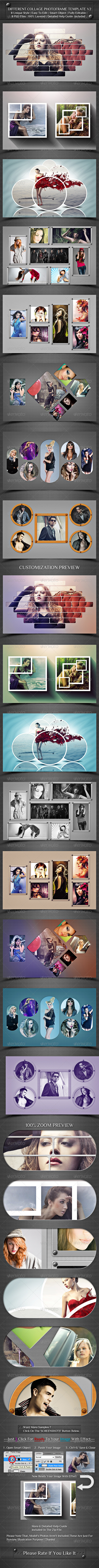 Different Collage Photoframe Template V2 - Photo Templates Graphics
