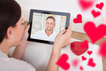 Woman Having Video Chat With Boyfriend On Digital Tablet - PhotoDune Item for Sale