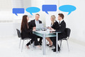 Business People With Thought Bubbles In Board Room - PhotoDune Item for Sale