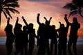 People Partying On Beach At Sunset - PhotoDune Item for Sale