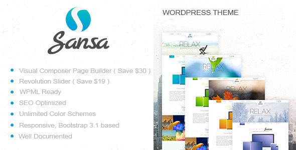 ThemeForest Sansa One Page Responsive WordPress Theme 8625553