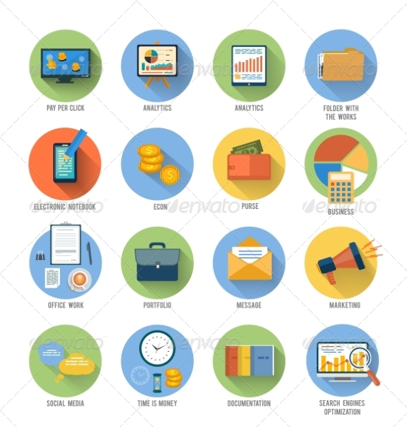 GraphicRiver Business Office and Marketing Items Icons 8625655