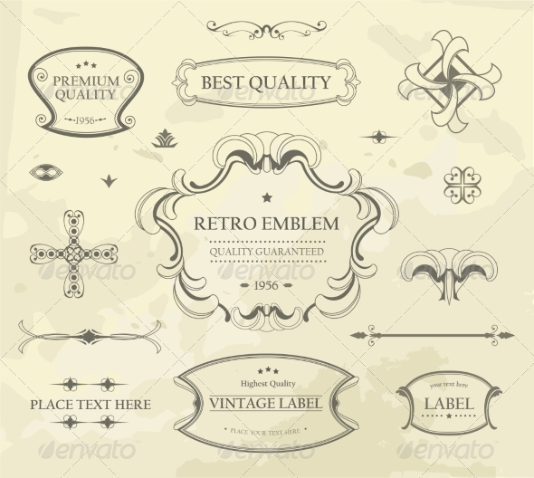 GraphicRiver Vector set of Calligraphic Design Elements 8625783