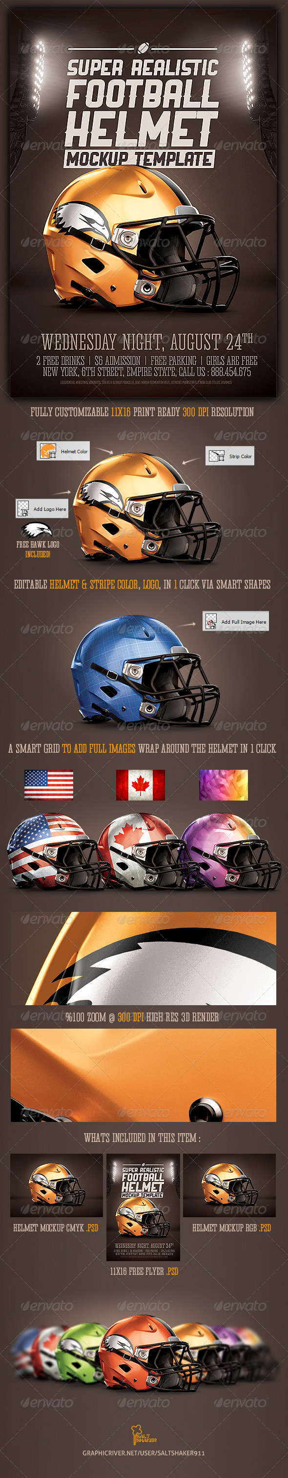GraphicRiver Realistic Football helmet Mockup 8625844