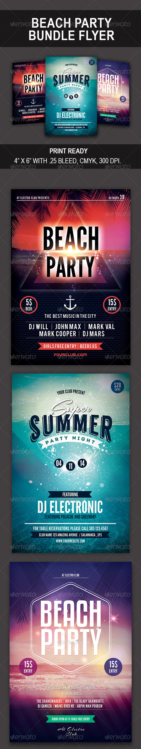 GraphicRiver Beach Party Bundle Flyer 8607356
