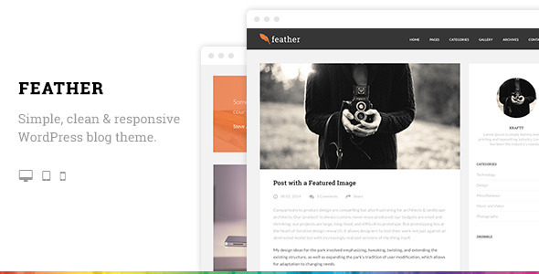 Feather Clean Flat Responsive WordPress Blog Theme - Personal Blog / Magazine