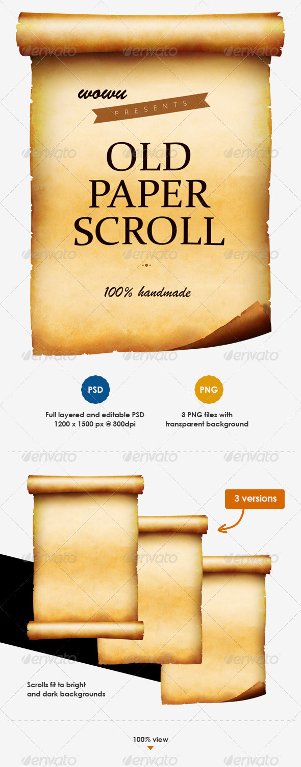 GraphicRiver Old Paper Scroll with Layered PSD 8619245
