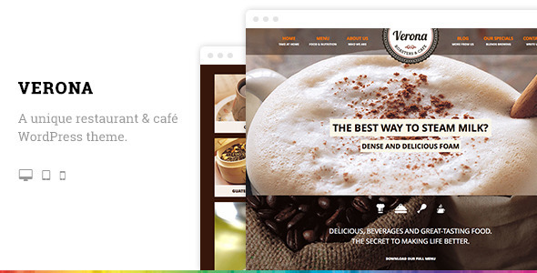 Verona Restaurant Cafe Responsive WordPress Theme - Restaurants & Cafes Entertainment