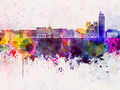 Nantes skyline in watercolor background - PhotoDune Item for Sale
