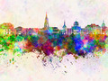 Toulouse skyline in watercolor background - PhotoDune Item for Sale