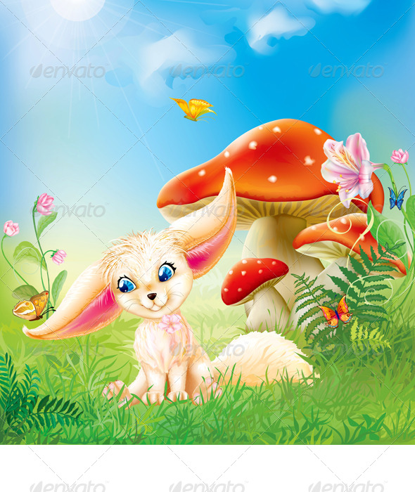 GraphicRiver Fairy Baby Fox with Background 8626857