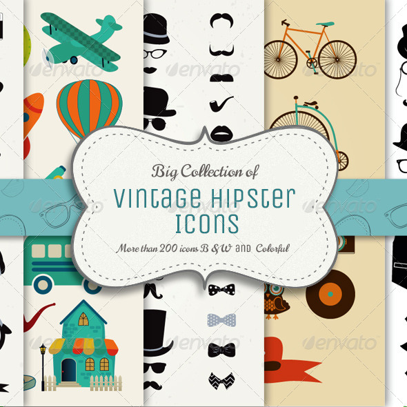 GraphicRiver Big Collection of Vintage Icons 8627016