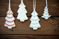 Four Christmas Tree Cookies on Wood - PhotoDune Item for Sale