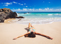 Woman relaxing on beautiful tropical beach - PhotoDune Item for Sale