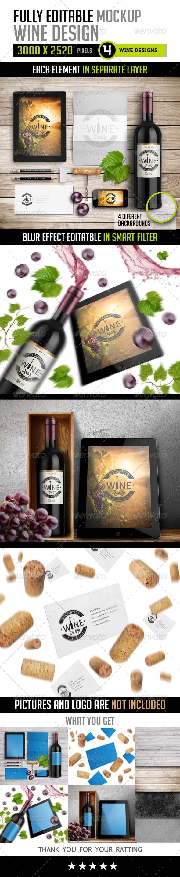 GraphicRiver Fully Editable Mockup Wine Design 8627765