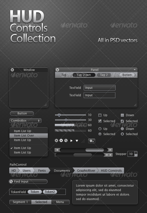 HUD Controls Collection - Miscellaneous Web Elements