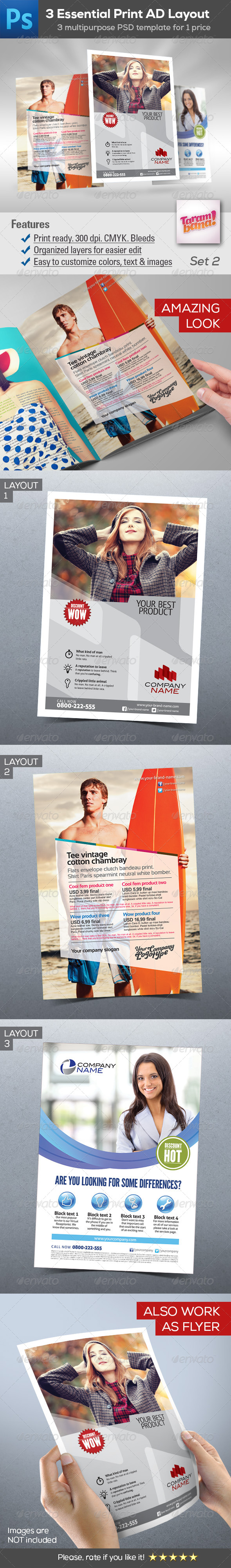 GraphicRiver 3 in 1 Essential Print Ad Layout Templates Bundle 8629530