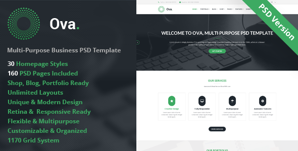 ThemeForest Ova Multi-purpose Business PSD Template 8630903