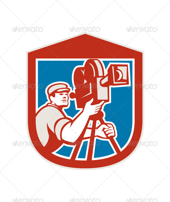 GraphicRiver Vintage Cameraman Shield 8631072