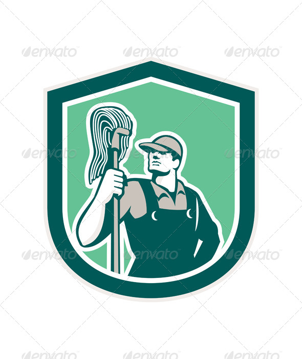 GraphicRiver Janitor Holding Mop Retro Shield 8631121