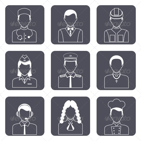 GraphicRiver Professional Avatar Icons Set 8631125