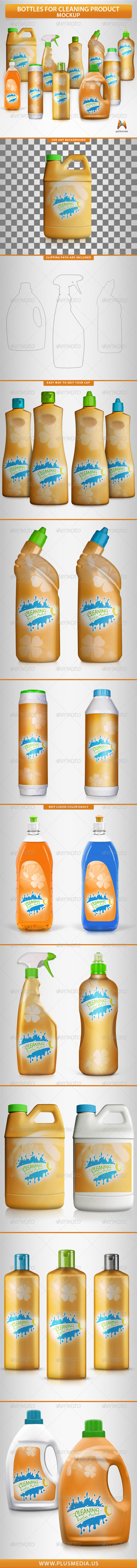 GraphicRiver Bottles for Cleaning Products Mockup 8631135
