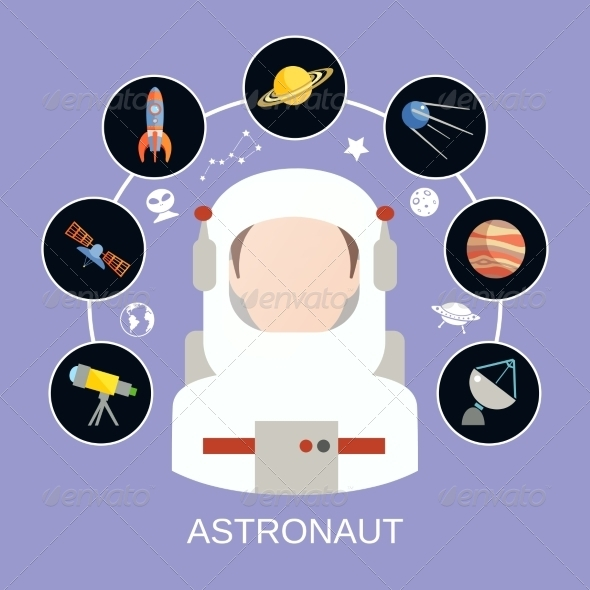 GraphicRiver Astronaut and Space Icons 8631142