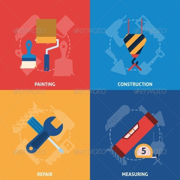 GraphicRiver Home Repair Tools Icons Composition 8631163