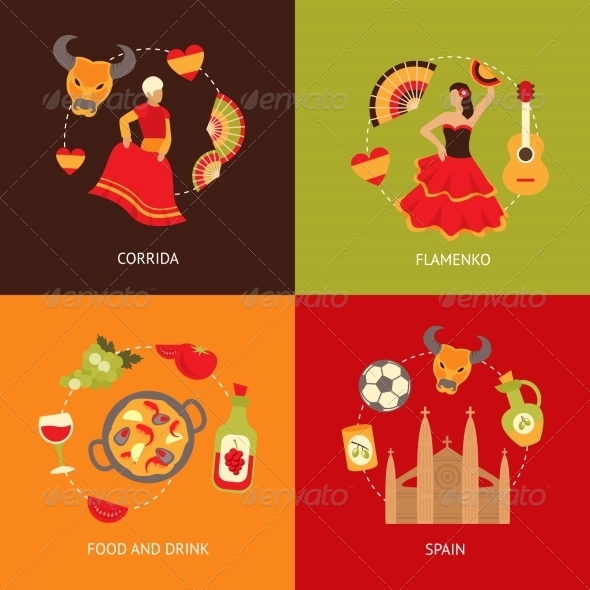 GraphicRiver Spain Icons Composition Set 8631165