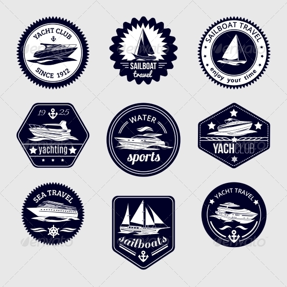 GraphicRiver Sailboats Travel Labels Icons Set 8631172