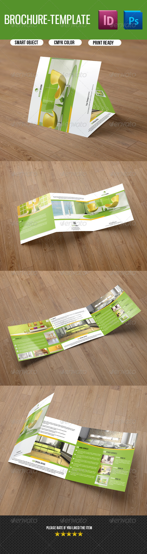 Square Trifold Brochure for Interior Design-V33