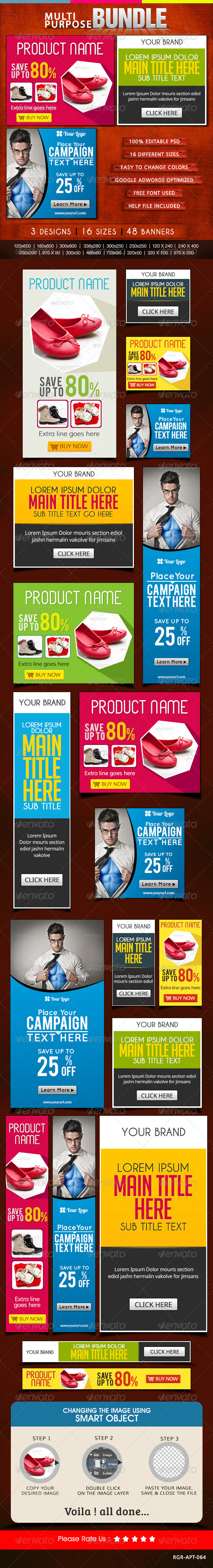 GraphicRiver Multi Purpose Banner Bundle 3 Sets 8631525