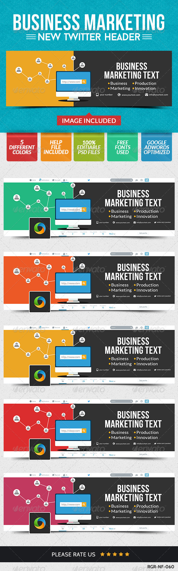 GraphicRiver Business Twitter Headers 5 Colors 8631780