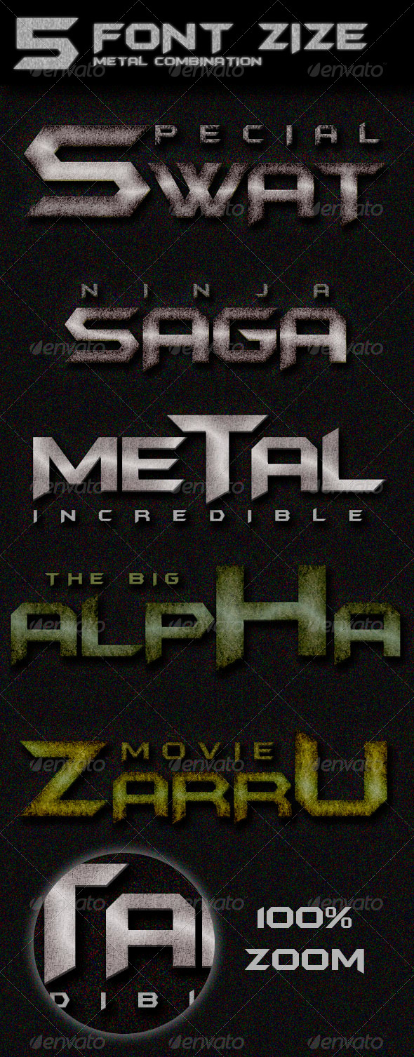GraphicRiver 5 Font Size Metal Combination 8631830