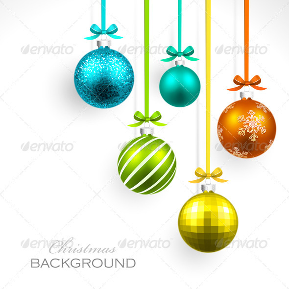 GraphicRiver Christmas Balls with Ribbon and Bows 8631833