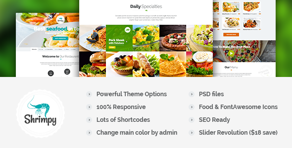 ThemeForest Shrimpy Responsive Restaurant Wordpress Theme 8632133