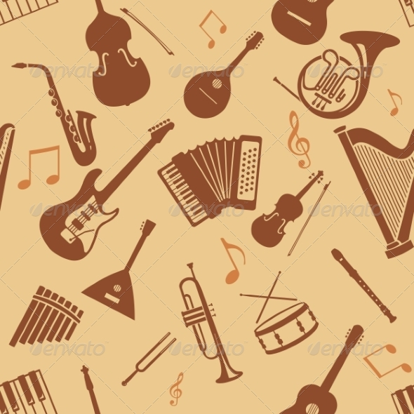 GraphicRiver Seamless Pattern of Musical Instruments 8632438