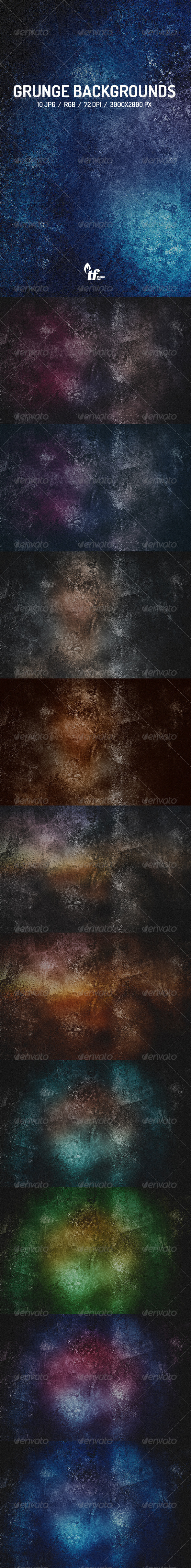 GraphicRiver 10 Grunge Backgrounds 8632477