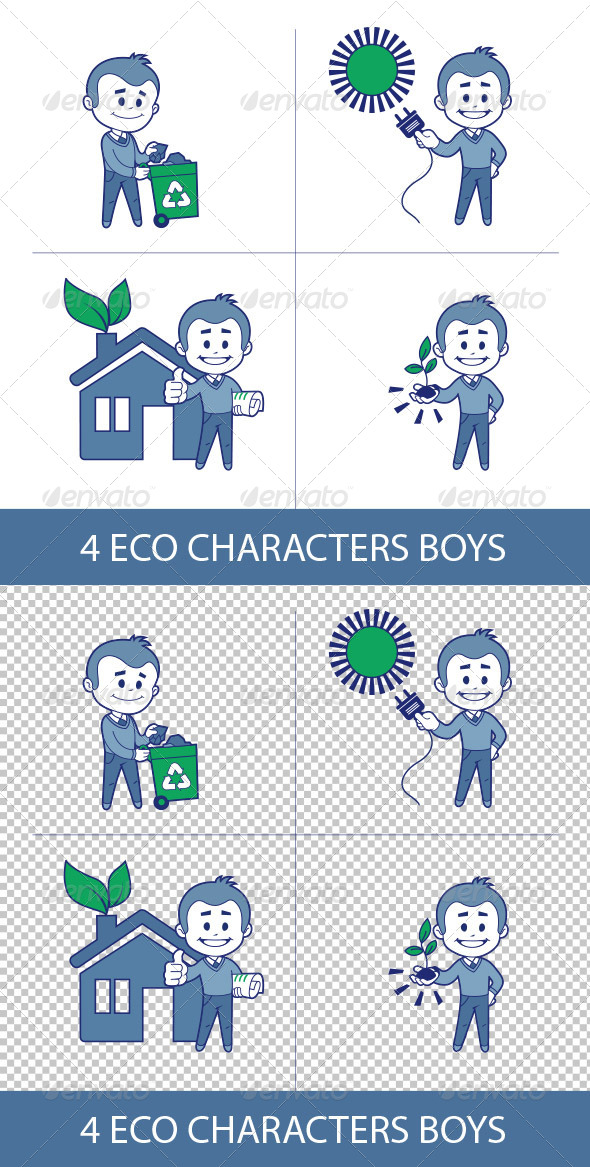 GraphicRiver Eco Characters Boys 8632605