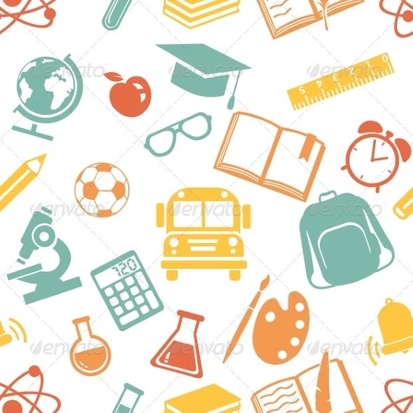 GraphicRiver Seamless Pattern of School Symbols 8632792