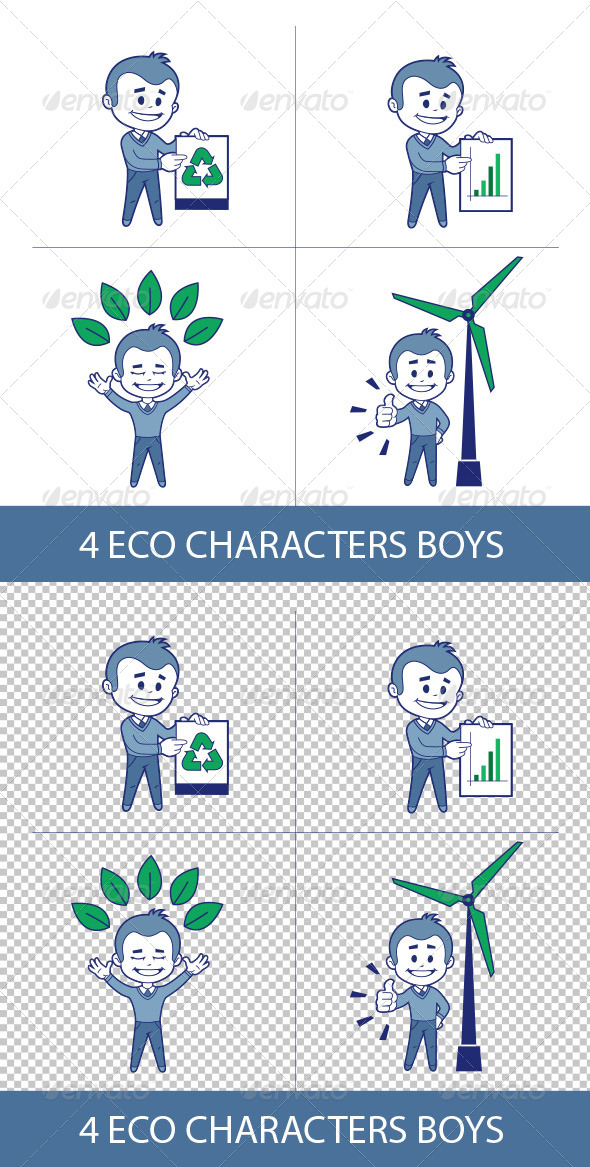 GraphicRiver Four Eco Characters Boys 8632973