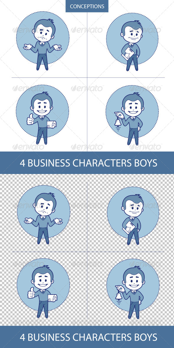 GraphicRiver Four Business Characters Mans 8633221