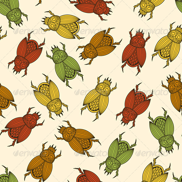 GraphicRiver Seamless Pattern with Scarab Beetles 8633556