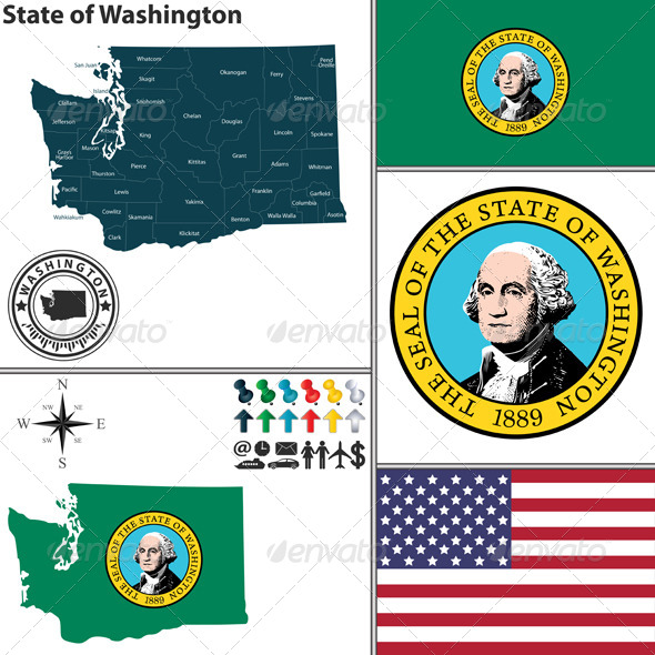 GraphicRiver Map of State Washington USA 8633719