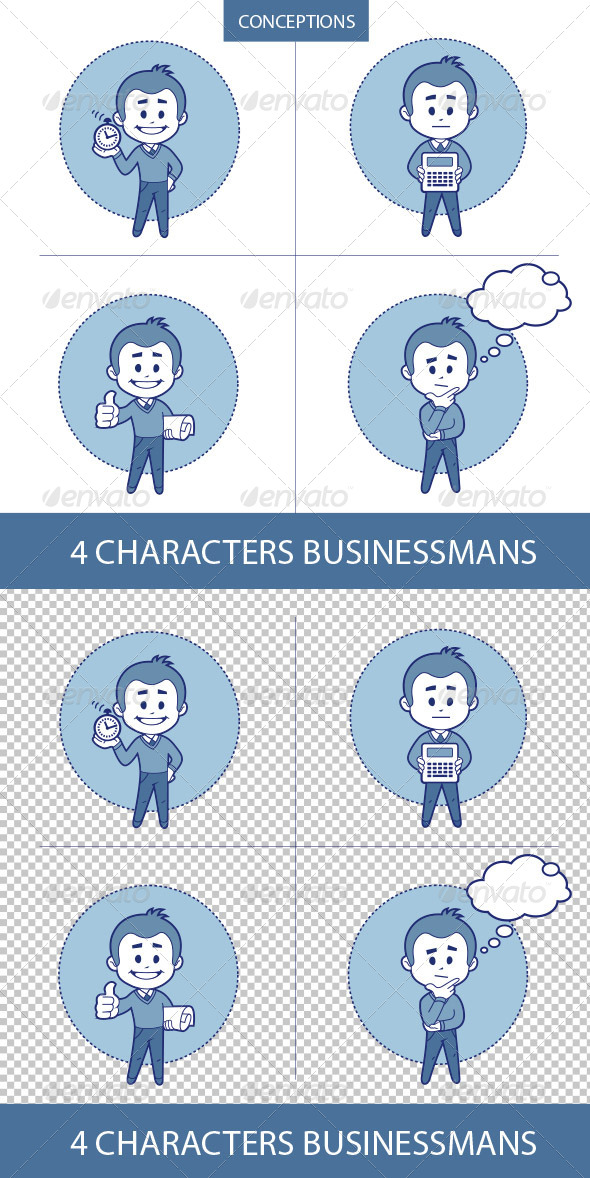GraphicRiver Four Characters Businessmans 8633765