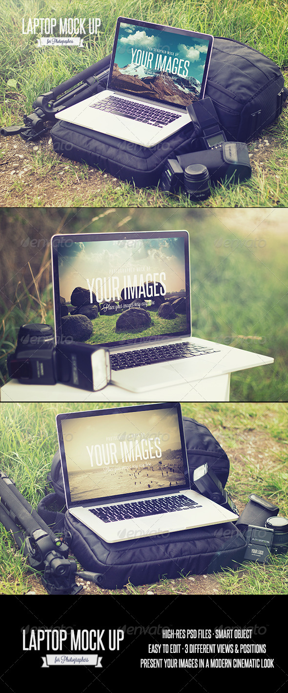 GraphicRiver Laptop Realistic Photographer Mock Up 8625606