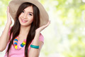 young asian woman wearing summer hat - PhotoDune Item for Sale
