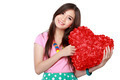 woman with heart shaped pillow - PhotoDune Item for Sale