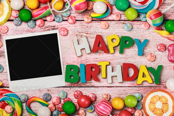 letters of cookies and happy birthday photo frame