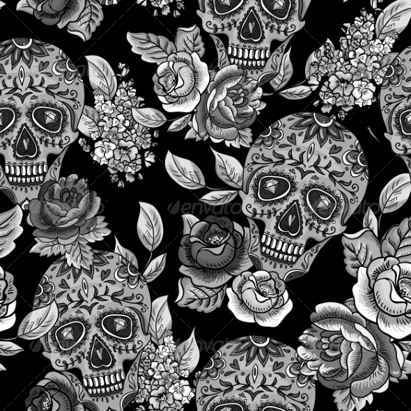 GraphicRiver Skull and Flowers Monochrome Seamless Background 8634924